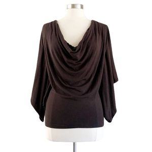 Sky Brown Draped Open Back Layered Chain Top Sz S